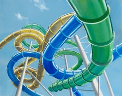 WHERE TO BEGIN, hyper-realist, blue sky, blue green and yellow waterslides