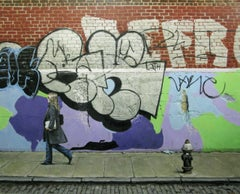 NEW YORK GRAFFITI, women on street, grafitti background, new york city streets