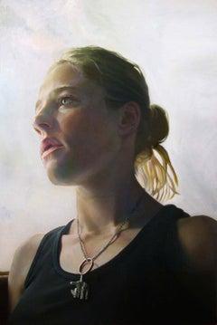 KAREN JEAN 2, portrait, necklace, woman in black, face, photo-realism