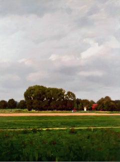 FLEMISH STRIPES, landscape, large tree, country fields, photo-realism