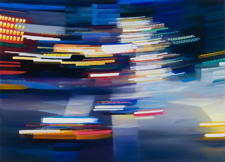 Alexandra Pacula Landscape Painting - FLEETING INSTANCE, blurry street view, car and street lights, bright colors,