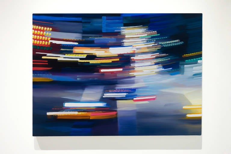 FLEETING INSTANCE, blurry street view, car and street lights, bright colors,  - Contemporary Painting by Alexandra Pacula