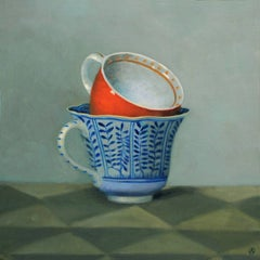 RED AND BLUE TEACUPS, vivid colors, sharp red, sharp blue, still life,