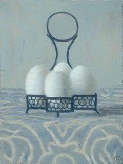 EGG HOLDER, still life, white eggs in blue holder, shades of blue, white,