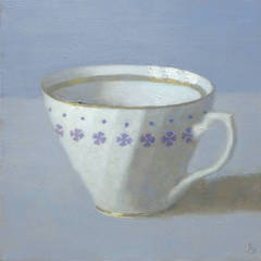 White Cup on Periwinkle