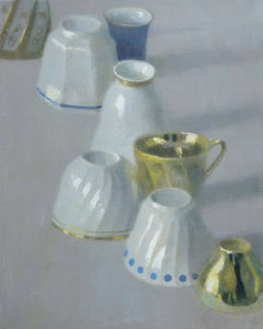 UPSIDE DOWN, still life of cups on table, upright and upside down, porcelain