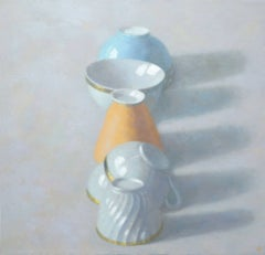 LINE OF CUPS, still life, teacups on table, muted colors, orange