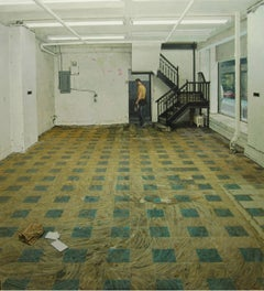 SPACE FOR RENT, hyper-realist, empty room, tiled floors, white walls