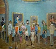 PRADO II, people standing in gallery, blue walls, paintings on wall