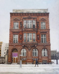 THE MINISTRY, old brick building, photo-realism, building facade, city in winter