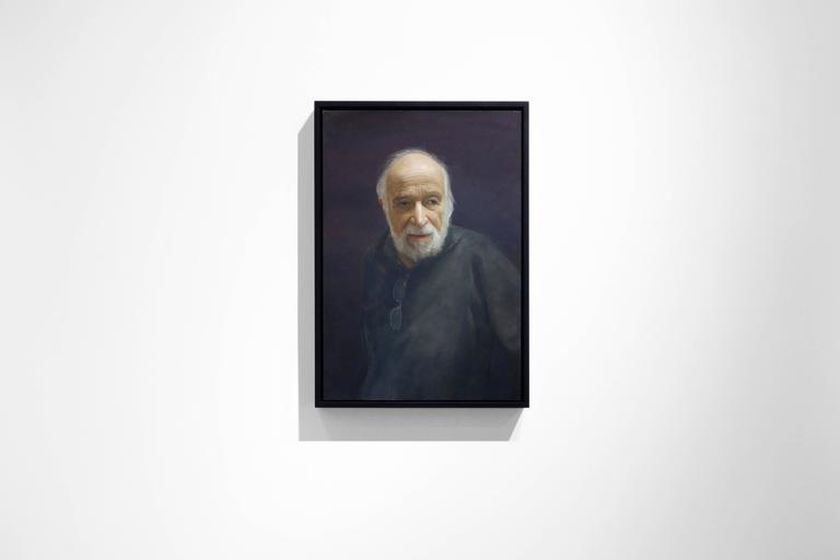 BURTON SILVERMAN, portrait of man, black sweater, portrait, photo-realism - Painting by David Kassan