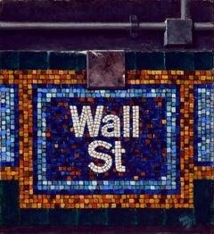 WALL ST. MOSAIC, nyc subway stop, old sign, mosaic tiles, blue, orange, white