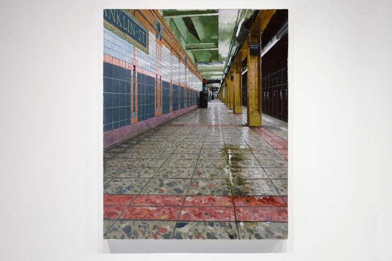 Downtown Platform Franklin St. Subway - Contemporary Painting by Richard Combes