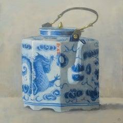 TEAPOT WITH DRAGON, white china, blue detail, teapot, still-life