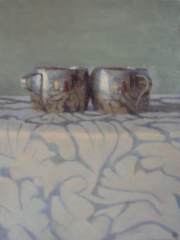 Olga Antonova Still-Life Painting - Silver Cups on Patterned Cloth