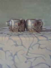 Silver Cups on Patterned Cloth
