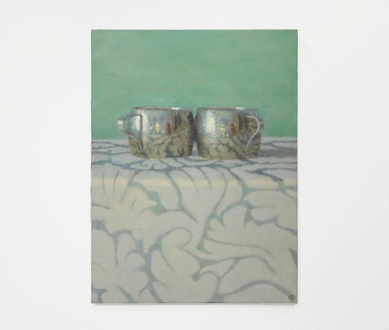 Silver Cups on Patterned Cloth - Painting by Olga Antonova