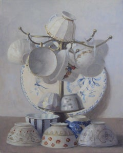 OVERFLOWING CUPS, still-life, plates, cups, cups hanging, blue trim, white