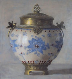 URN WITH BLUE FLOWER MOTIF, china with blue detail, gold edging, still-life