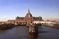 NJCRR FERRY TERMINAL, new jersey, landscape, landmark, photo-realism, red