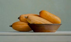 BANANA SQUASH AND BROWN BOWL, orange, brown, white background, still-life
