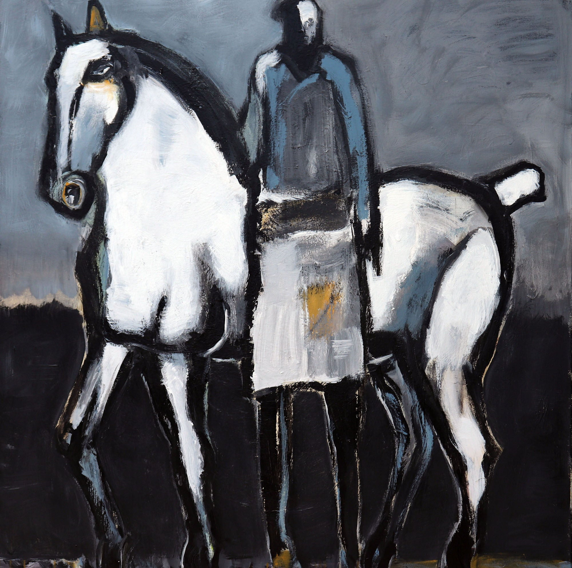 White Horse with Standing Rider