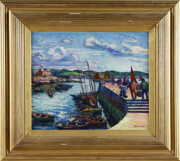 Harry Shokler Landscape Painting - Lobester Fishers, Concarneau, Brittany