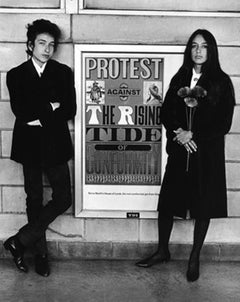 Bob Dylan and Joan Baez with Protest Sign, Newark Airport