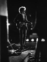 Bob Dylan backlit on stage, Forest Hills Stadium, New York