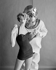 Jean Patchett and Hard Hat Diver, Cole of California, 1954