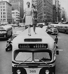 Bus Stop: Dovima and Jean Patchett, Madison Square, Harper's Bazaar, 1958