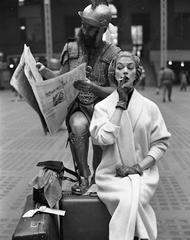 Jean Patchett and Centurian (Victor Cutrer), Penn Station, New York, 1955