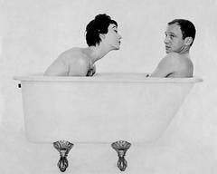 Bill and Dovima in the tub, during a shoot for Corday