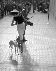 Simone D'Aillencourt with Whippet, Penn Station, 1959
