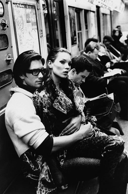 Kate Moss and Marcus Schenkenberg on the C train, New York