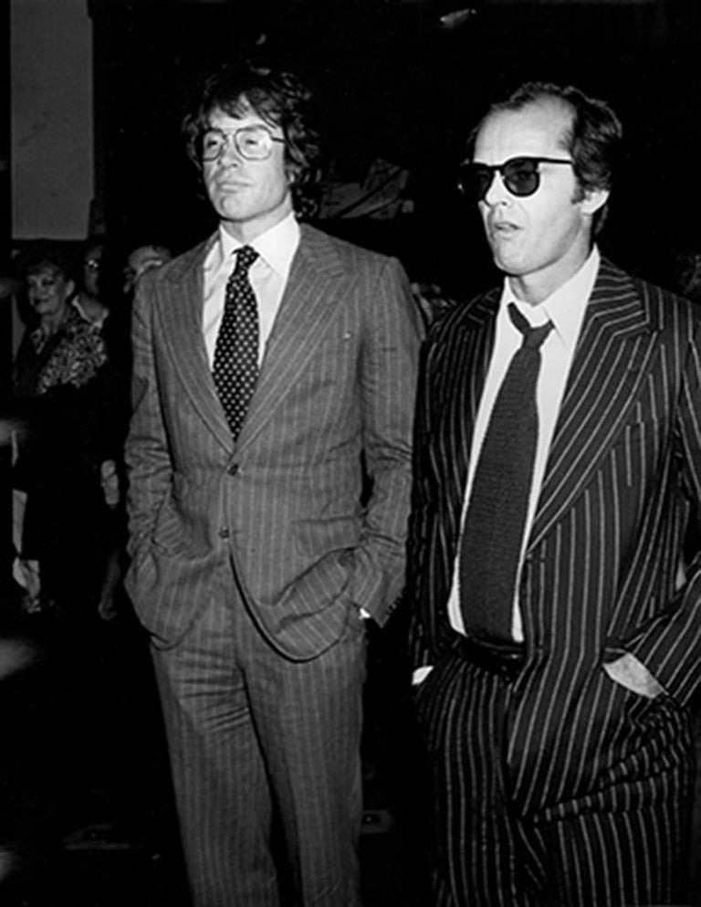 Ron Galella Black and White Photograph - Warren Beatty and Jack Nicholson, Mabel Mercer Concert