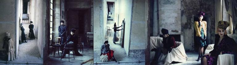 Deborah Turbeville Color Photograph - Anh Duong and Marie-Sophie in Emanuel Ungaro, VOGUE, Chateau Raray, France
