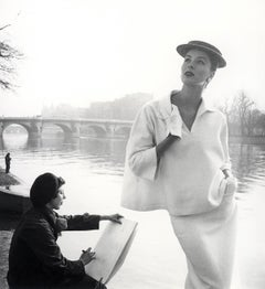 Suzy Parker in Balenciaga along the Seine, Paris