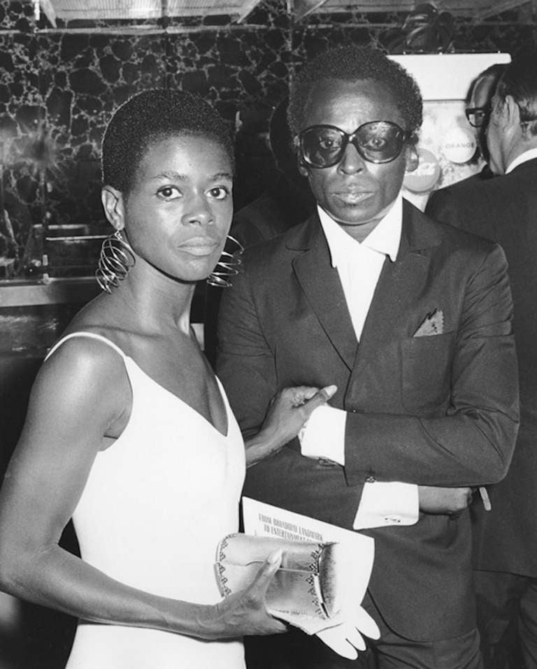 Ron Galella Black and White Photograph - Cicely Tyson and Miles Davis, Cheetah Club, New York