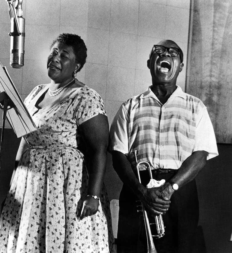 """Ella Fitzgerald and Louis Armstrong recording the album """"Ella and Louis"""""""