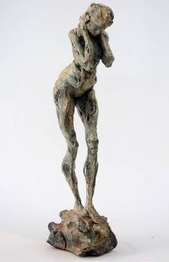 Sculpture XXX 1/8 - poised nude female figure patinated statuette