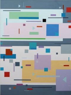 Hip-Hopp'n 8A - colourful, geometric abstraction, modernist, acrylic on panel