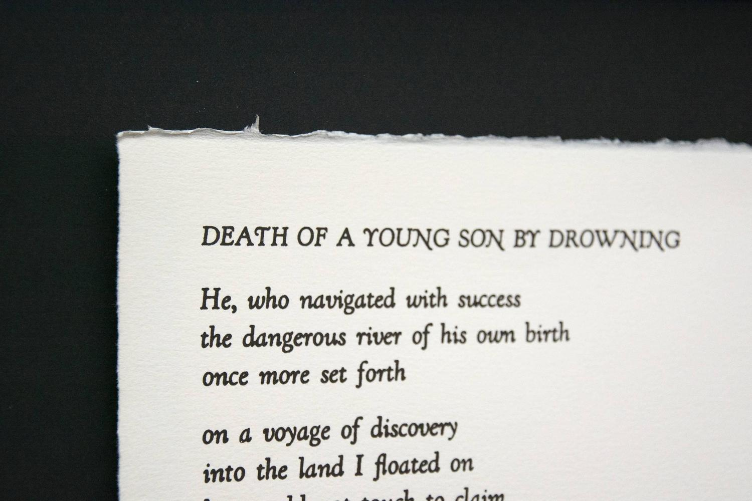 an interpretation of death of a young son by drowning a poem by margaret atwood Page for margaret atwood's poetry site includes poems, articles, study materials,  and reading group questions  death of a young son by drowning.