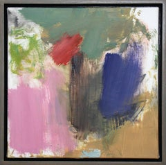 Denouement No 51 - small, bright, colourful, gestural, abstract, oil on canvas