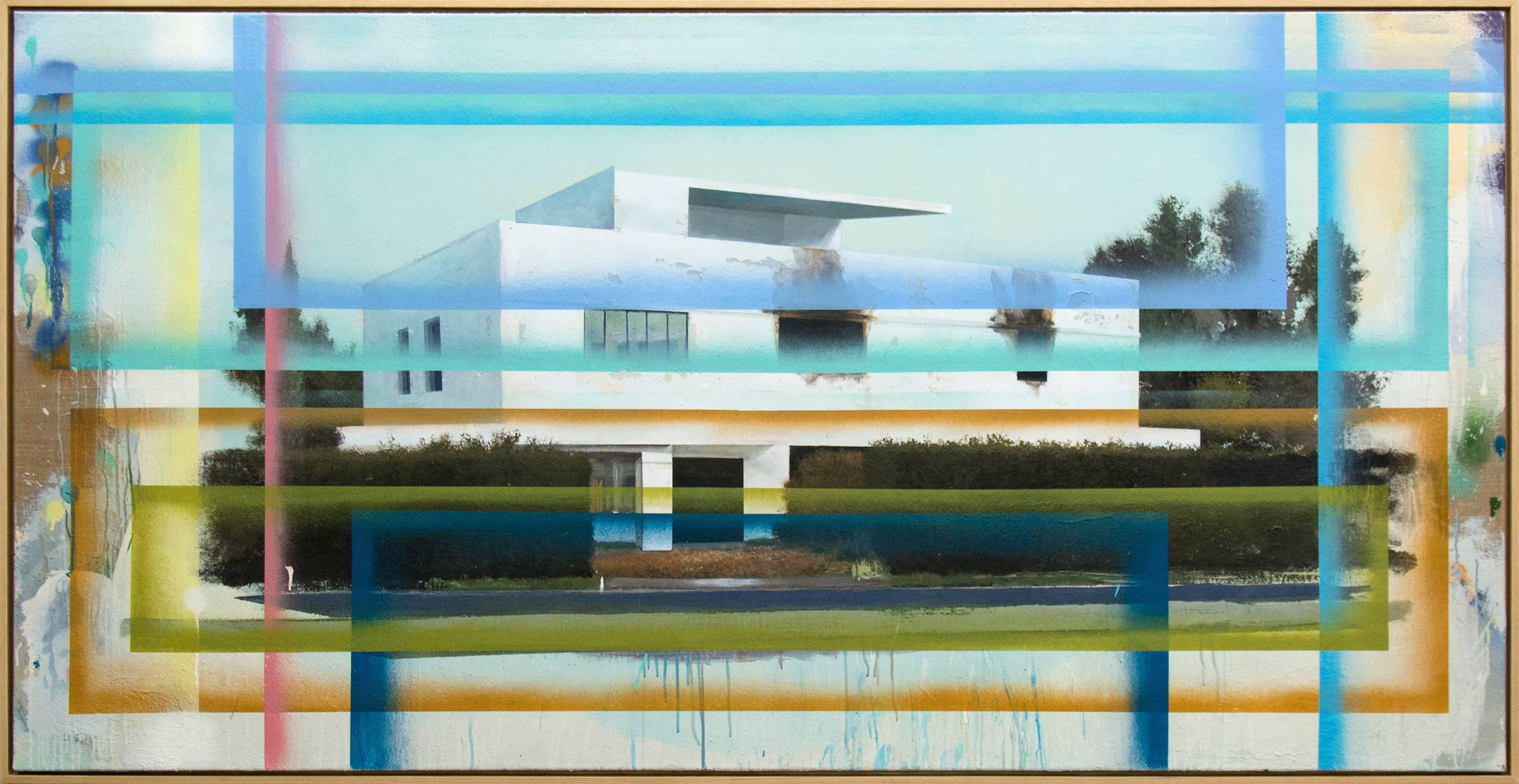 Bauhaus No 02 - large, blue, green, architecture, deconstruction, mixed media