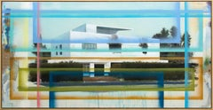 Bauhaus No 02 - large, blue, green, architecture, deconstruction, mixed media