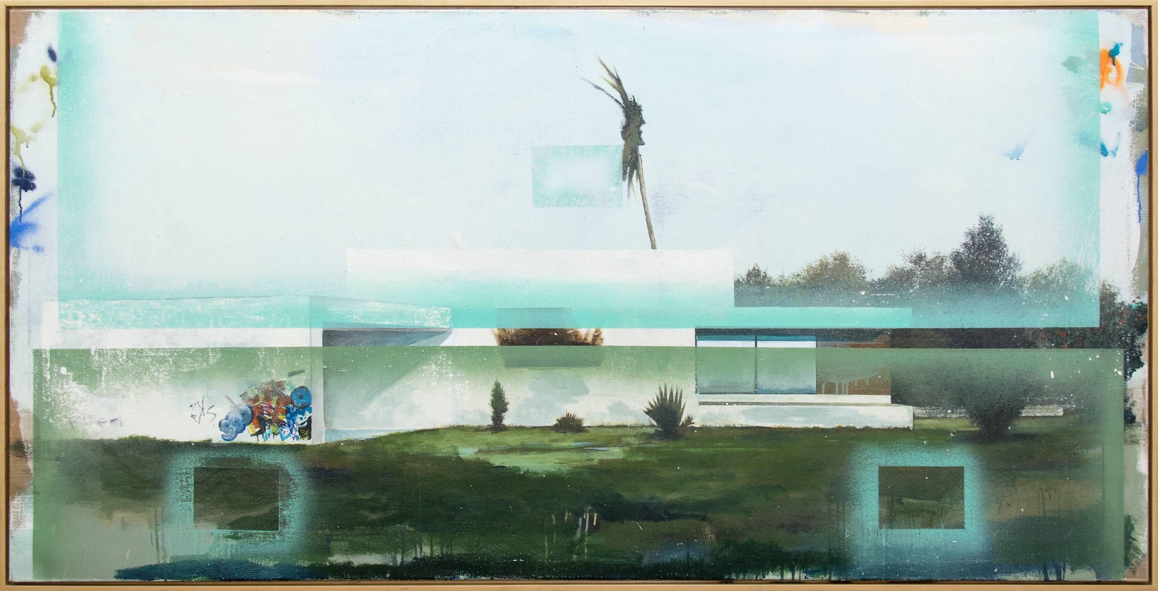 Illuminati - large, blue, architecture, deconstruction, mixed media on linen