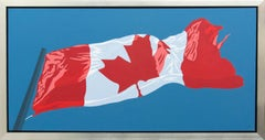 Horizontal Flag - pop-art, Canadiana, iconic, contemporary, acrylic on canvas