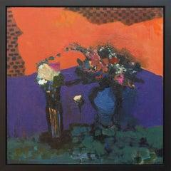Fleurs Avec Violets et Petits Carreaux
