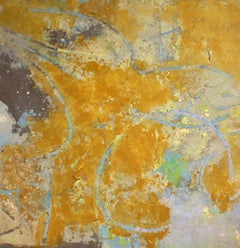 Golden Abstraction with Turquoise, Mauve and Green